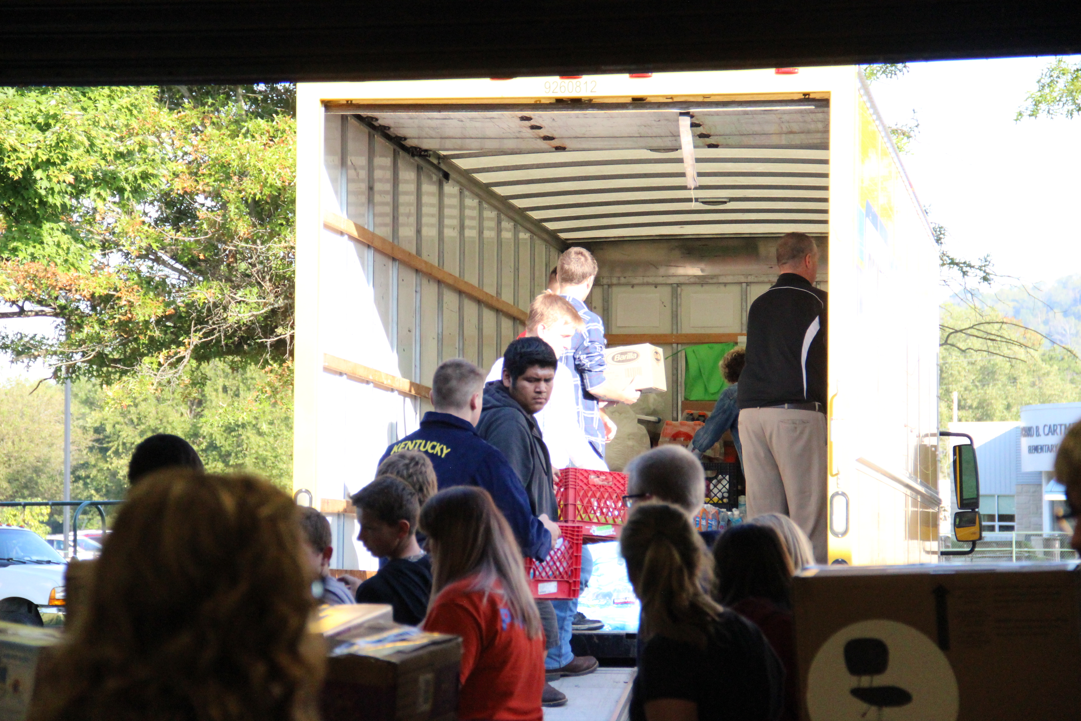 CCHS ag students load supplies for Hurricane Harvey relief